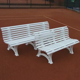 Tennisplatzsitzbank mit geschwungener Lehne, weiß, 1,5m